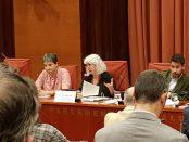Roser Mercadé, presidenta del comitè d'empresa de TV3, es dirigeix als diputats de la Comissió de Control de la CCMA
