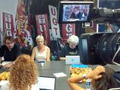Camil Ros i la secretària d'organització, Núria Solé, durant la roda de premsa foto: Tomeu Ferrer