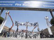 Concentració sindicat riggers a Fira de Barcelona
