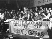 Imatge de la històrica assemblea de Sant Medir del 1976 amb Marcelino Camacho